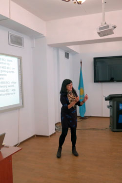 Claudia Lecturing at Kazakh National University